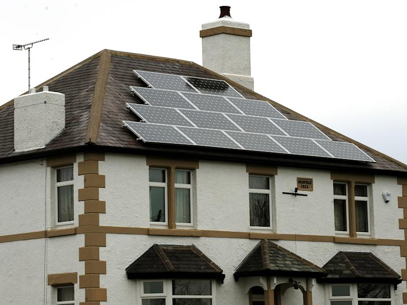 Solar panels on a roof of a house in Derbyshire. Photo: Rui Vieira/PA Wire