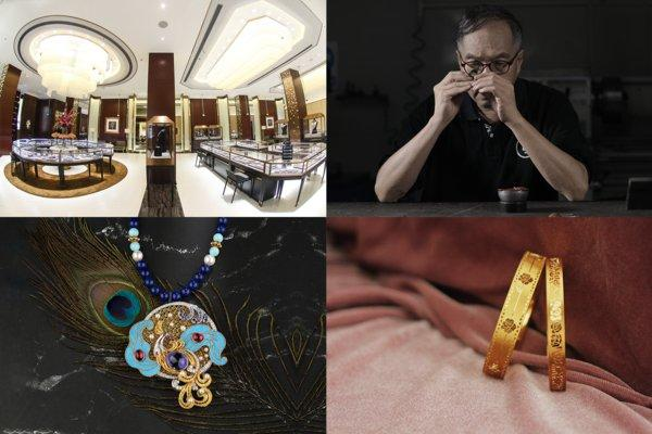 From top left (clockwise) 1. Shanghai Kimberlite flagship store 2. Principal craftsman from Shenzhen Xingguangda Jewelry at work 3. Wedding bands from Shenzhen Future Wisdom 4. BOJEM coloured gemstone jewellery collection
