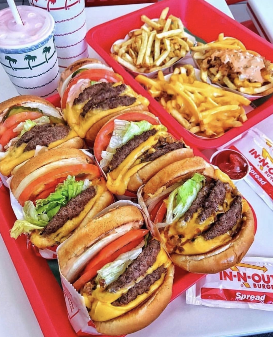 """<p>When you pull up to an <a href=""""http://www.in-n-out.com/menu.aspx"""" rel=""""nofollow noopener"""" target=""""_blank"""" data-ylk=""""slk:In-N-Out"""" class=""""link rapid-noclick-resp"""">In-N-Out</a> location, chances are the drive-thru line is winding around the block. With over 300 sites scattered across the Southwest, In-N-Out takes the cake when it comes to popularity, and its become a must-eat staple of the region. The menu is relatively affordable, and it sticks to the classics: Burgers, fries, soda, and shakes. If you're looking to go low-carb, you can always order """"protein style"""" which substitutes the bun for a lettuce wrap. But here's the ultimate order: Ask for a Double-Double and get it """"animal style"""" — it'll come topped with cheese and grilled onions and doused in special sauce. Just the right combination of simplicity and decadence.<br></p><p>Instagram/<a href=""""https://www.instagram.com/p/Bwq03PqlzAk/"""" rel=""""nofollow noopener"""" target=""""_blank"""" data-ylk=""""slk:hungry.burgers"""" class=""""link rapid-noclick-resp"""">hungry.burgers</a></p>"""