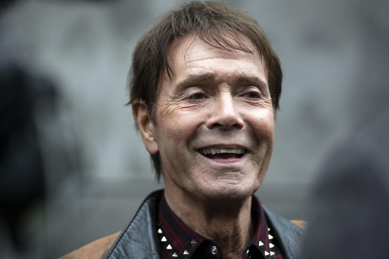 Sir Cliff Richard during the unveiling of the Wall of Fame, a new art installation at the London Palladium in London.