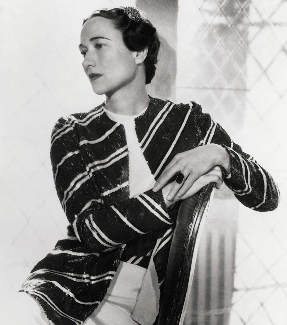 """<p>Wallis Simpson, a twice divorced American socialite, received a stunning <a href=""""https://www.instyle.com/celebrity/royal-rocks-engagement-rings-princess-brides"""" rel=""""nofollow noopener"""" target=""""_blank"""" data-ylk=""""slk:19.77 carat emerald stone"""" class=""""link rapid-noclick-resp"""">19.77 carat emerald stone</a> set in a Cartier ring from the Duke of York. </p>"""
