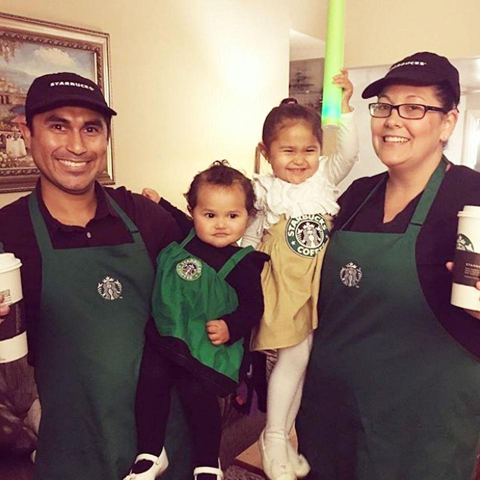"""<p>You can buy the barista apron <a href=""""https://go.redirectingat.com?id=74968X1596630&url=https%3A%2F%2Fwww.etsy.com%2Flisting%2F727689726%2Fstarbucks-barista-apron-cap-hat-teen%3Fga_order%3Dmost_relevant%26ga_search_type%3Dall%26ga_view_type%3Dgallery%26ga_search_query%3Dstarbucks%2Bapron%26ref%3Dsr_gallery-1-4%26pro%3D1&sref=https%3A%2F%2Fwww.bestproducts.com%2Flifestyle%2Fg22530616%2Ffamily-halloween-costume-ideas%2F"""" rel=""""nofollow noopener"""" target=""""_blank"""" data-ylk=""""slk:online"""" class=""""link rapid-noclick-resp"""">online</a> and then dress the little ones up as frappuccinos. </p><p><a class=""""link rapid-noclick-resp"""" href=""""https://www.amazon.com/s?k=Starbucks+COSTUME&ref=nb_sb_noss&tag=syn-yahoo-20&ascsubtag=%5Bartid%7C2089.g.22530616%5Bsrc%7Cyahoo-us"""" rel=""""nofollow noopener"""" target=""""_blank"""" data-ylk=""""slk:SHOP THE LOOKS"""">SHOP THE LOOKS</a></p><p><strong>Instagram:</strong> <a href=""""https://www.instagram.com/p/Ba-eDHQnH-X/?taken-by=pdfarnam"""" rel=""""nofollow noopener"""" target=""""_blank"""" data-ylk=""""slk:@pdfarnam"""" class=""""link rapid-noclick-resp"""">@pdfarnam</a><br></p>"""