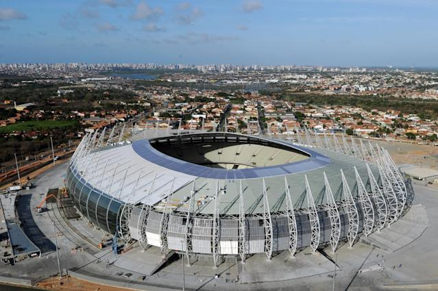 Aerial view of the Arena Castelao Stadium, in Fortaleza, Ceara State -northeastern Brazil- on December 10, 2012. The Arena Castelao is the first stadium ready for the eight-nation Confederations Cup next June 2013. The competition which is a dress rehearsal for the the 2014 World Cup will notably bring together four former world champions. AFP PHOTO / Evaristo SAEVARISTO SA/AFP/Getty Images