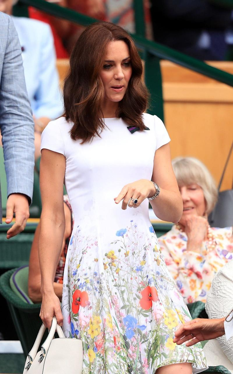 The Duchess of Cambridge arrives in the royal box this afternoon - PA