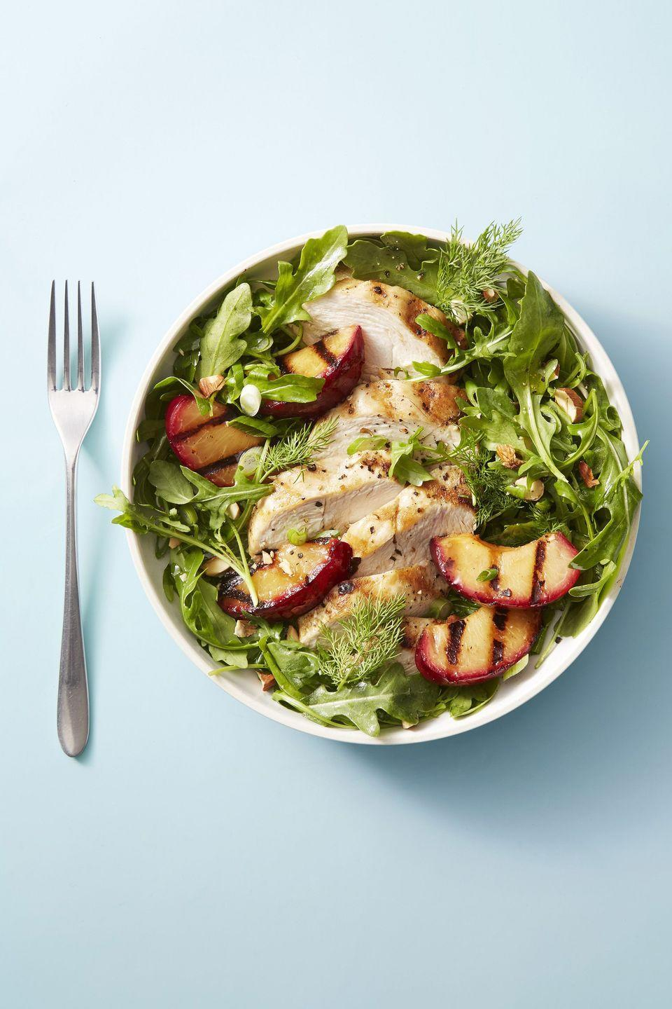 """<p>Since plum season doesn't last forever, make the most of it by throwing a few charred plums atop a bed of grilled chicken and greens. </p><p><em><a href=""""https://www.goodhousekeeping.com/food-recipes/easy/a21601672/chicken-and-red-plum-salad-recipe/"""" rel=""""nofollow noopener"""" target=""""_blank"""" data-ylk=""""slk:Get the recipe for Chicken and Red Plum Salad »"""" class=""""link rapid-noclick-resp"""">Get the recipe for Chicken and Red Plum Salad »</a></em></p><p><strong>RELATED: </strong><a href=""""https://www.goodhousekeeping.com/food-recipes/healthy/g2128/summer-salads/"""" rel=""""nofollow noopener"""" target=""""_blank"""" data-ylk=""""slk:40 Easy Summer Salads That Pack in the Best Seasonal Flavors"""" class=""""link rapid-noclick-resp"""">40 Easy Summer Salads That Pack in the Best Seasonal Flavors</a><br></p>"""