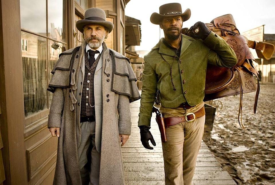 "<p>In this Oscar-winning Quentin Tarantino film, Jamie Foxx plays a former slave named Django who along with a German bounty hunter (Christoph Waltz) set out to hunt the south's most-wanted criminals.</p><p><strong><a class=""link rapid-noclick-resp"" href=""https://www.netflix.com/title/70230640"" rel=""nofollow noopener"" target=""_blank"" data-ylk=""slk:Watch Now"">Watch Now</a></strong><br></p>"
