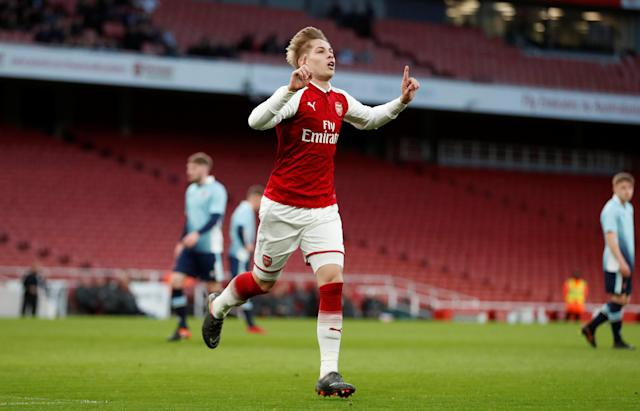 Soccer Football - FA Youth Cup Semi Final Second Leg - Arsenal vs Blackpool - Emirates Stadium, London, Britain - April 16, 2018 Arsenal's Emile Smith Rowe celebrates scoring their fourth goal Action Images/Matthew Childs