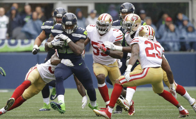 Chris Carson, piling up yards at home against the Niners. He appears to have ascended to the top of the backfield depth chart in Seattle. (AP Photo/Elaine Thompson)