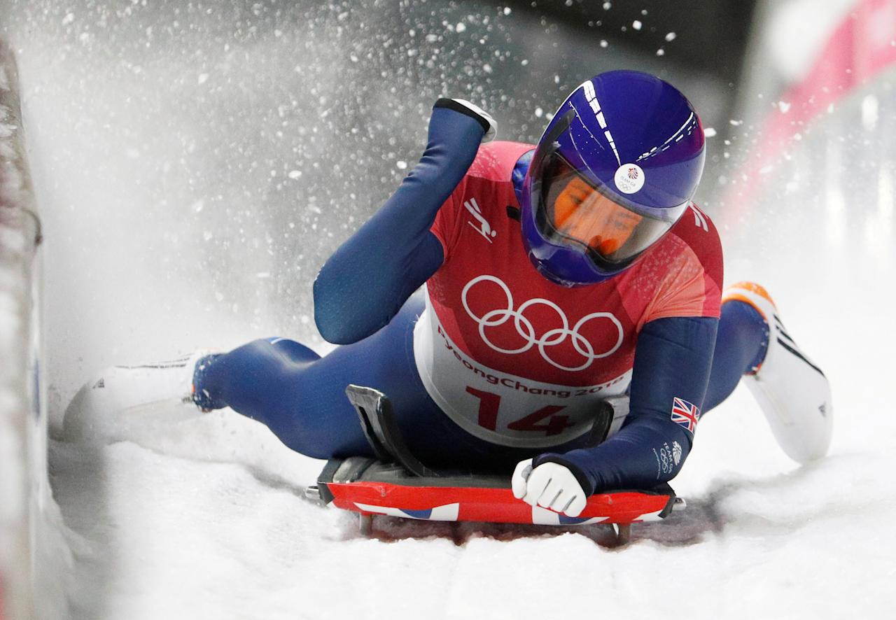 FILE PHOTO: Pyeongchang 2018 Winter Olympics Skeleton - Pyeongchang 2018 Winter Olympics - Women's Finals - Olympic Sliding Centre - Pyeongchang, South Korea - February 17, 2018 - Lizzy Yarnold of Britain reacts. REUTERS/Edgar Su/File Photo