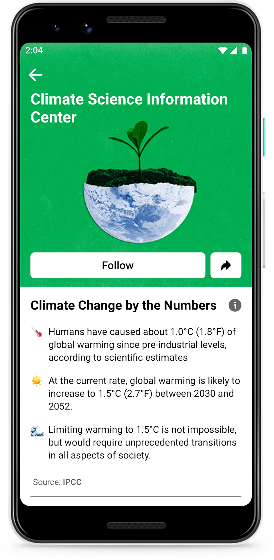 Facebook is launching a Climate Science Information Center