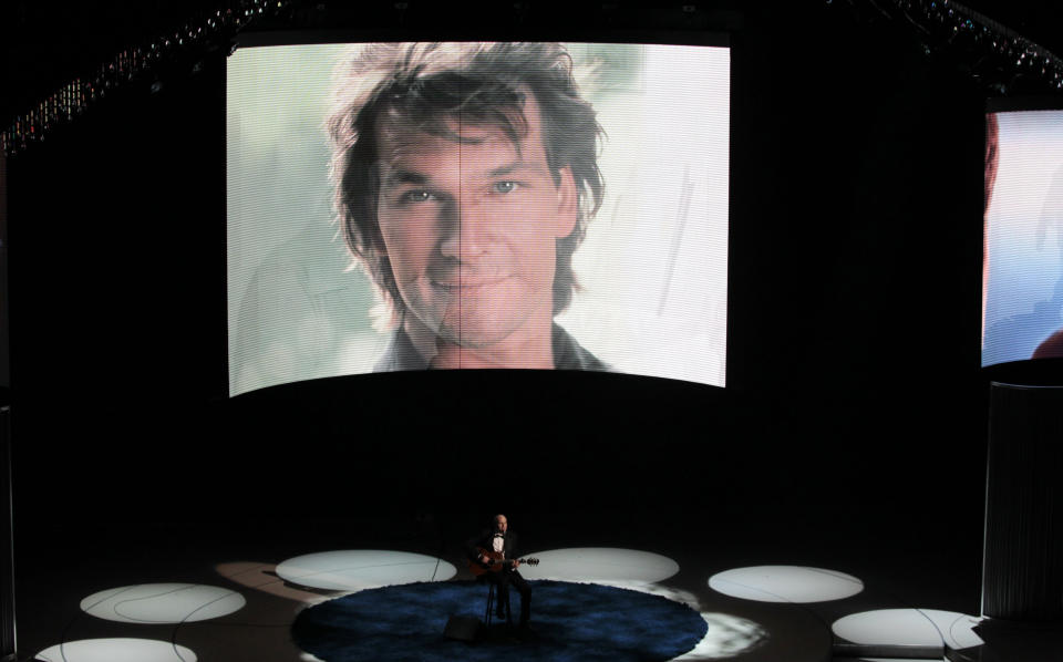 Patrick Swayze on screen at the Oscars. Source: Reuters