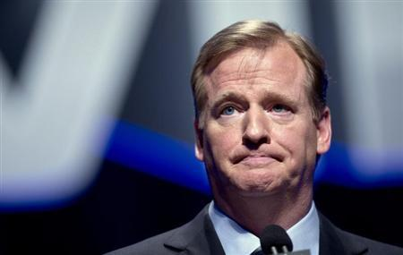 NFL Commissioner Goodell speaks during a news conference ahead of the Super Bowl, in New York