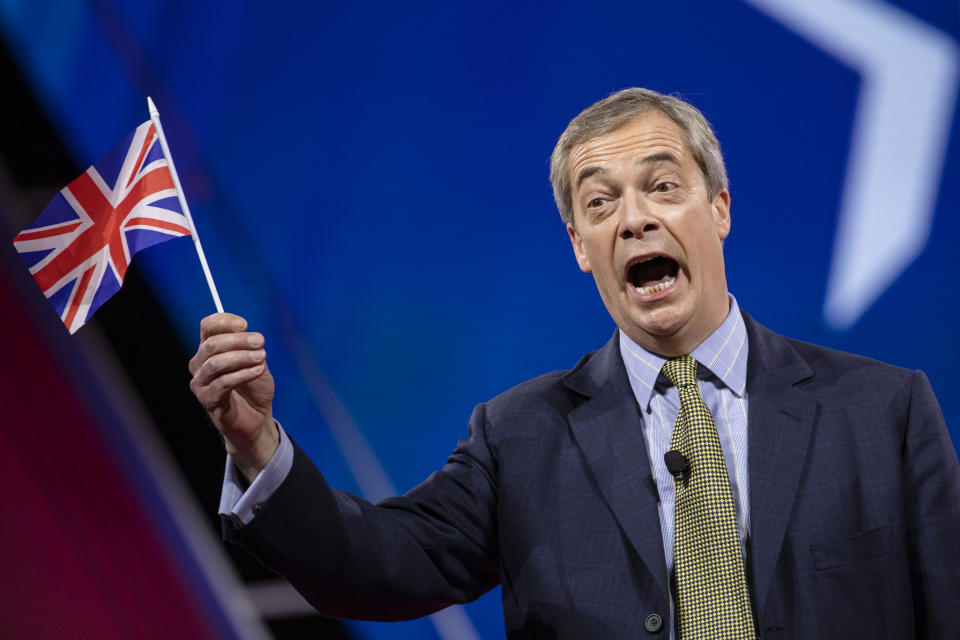 NATIONAL HARBOR, MD - FEBRUARY 28: Nigel Farage, British politician and leader of the Brexit Party, speaks at the Conservative Political Action Conference 2020 (CPAC) hosted by the American Conservative Union on February 28, 2020 in National Harbor, MD. (Photo by Samuel Corum/Getty Images)