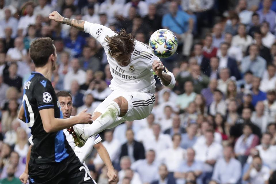 Sergio Ramos scored the first goal in Real Madrid's rally against Club Brugge in Champions League action on Tuesday. (Getty)