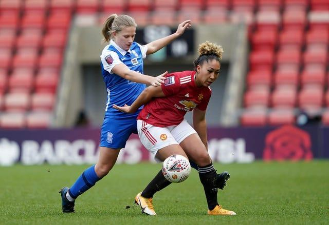 Birmingham's Gemma Lawley (left) and Manchester United's Lauren James battle for the ball during United's 2-0 FA Women's Super League victory on Sunday