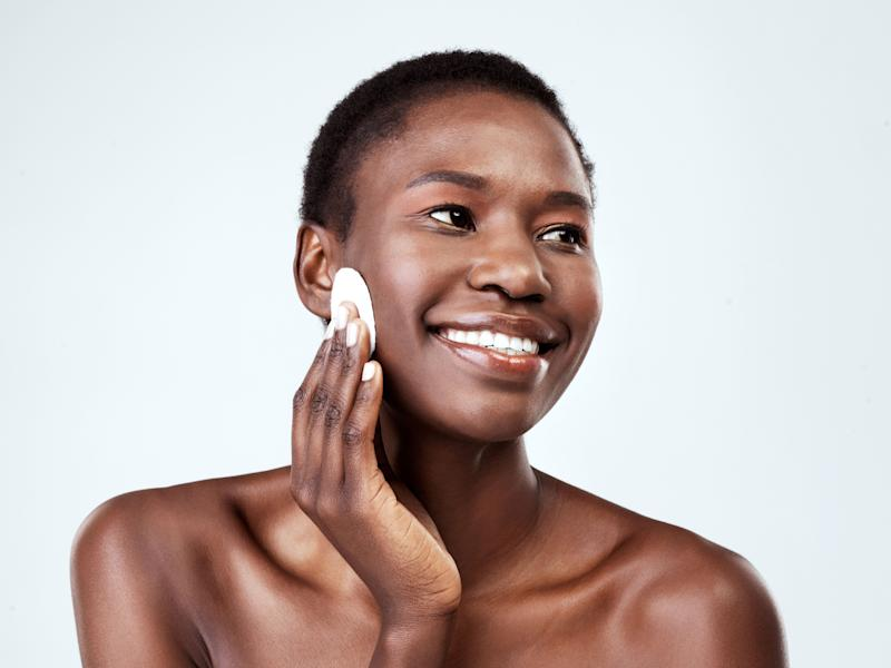 Using a toner right after cleansing ensures any leftover dirt, makeup and grime are removed. (Photo: PeopleImages via Getty Images)