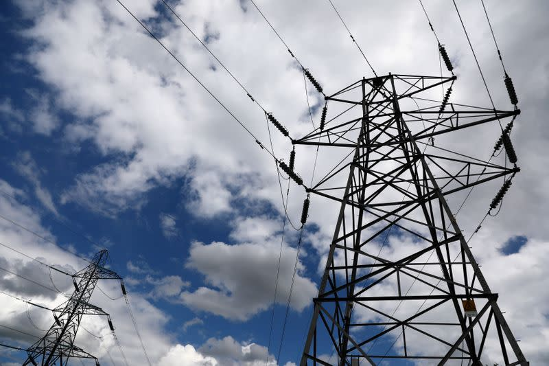 FILE PHOTO: Electricity pylons are seen in London