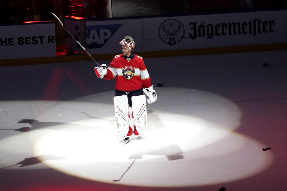 Florida Panthers goaltender Spencer Knight acknowledges the crowd after Game 5 of an NHL hockey Stanley Cup first-round playoff series against the Tampa Bay Lightning, Monday, May 24, 2021, in Sunrise, Fla. (AP Photo/Lynne Sladky)