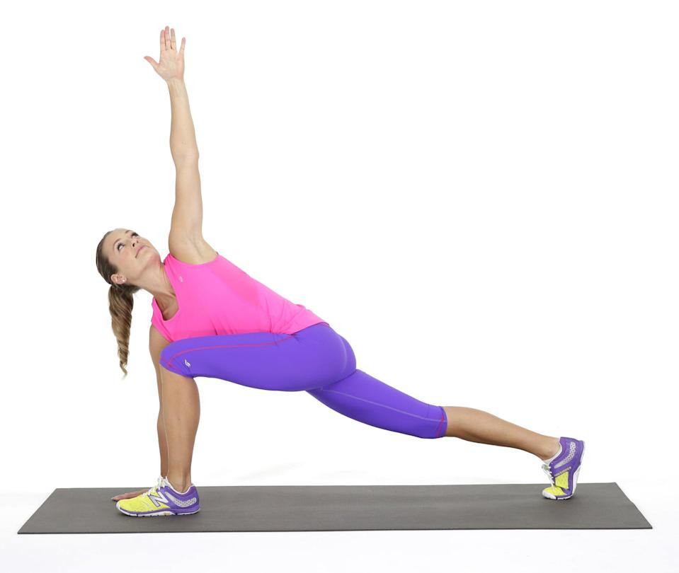 <p>I love stretches that target multiple muscle groups at once, and the world's greatest stretch definitely does that. This will help open up your spine, hips, posterior chain, and basically all the muscles you use when exercising and as you go through your daily activities. </p> <ul> <li>Start in a plank postion, and bring your left leg forward, placing it inside your left hand.</li> <li>Reach your left arm toward the ceiling, twisitng your torso to the left.</li> <li>Bring your left hand to floor, and reach your left leg back to return to a plank position. This completes one rep.</li> <li>Repeat on the other side.</li> <li>Complete eight to 10 reps on each side.</li> </ul>