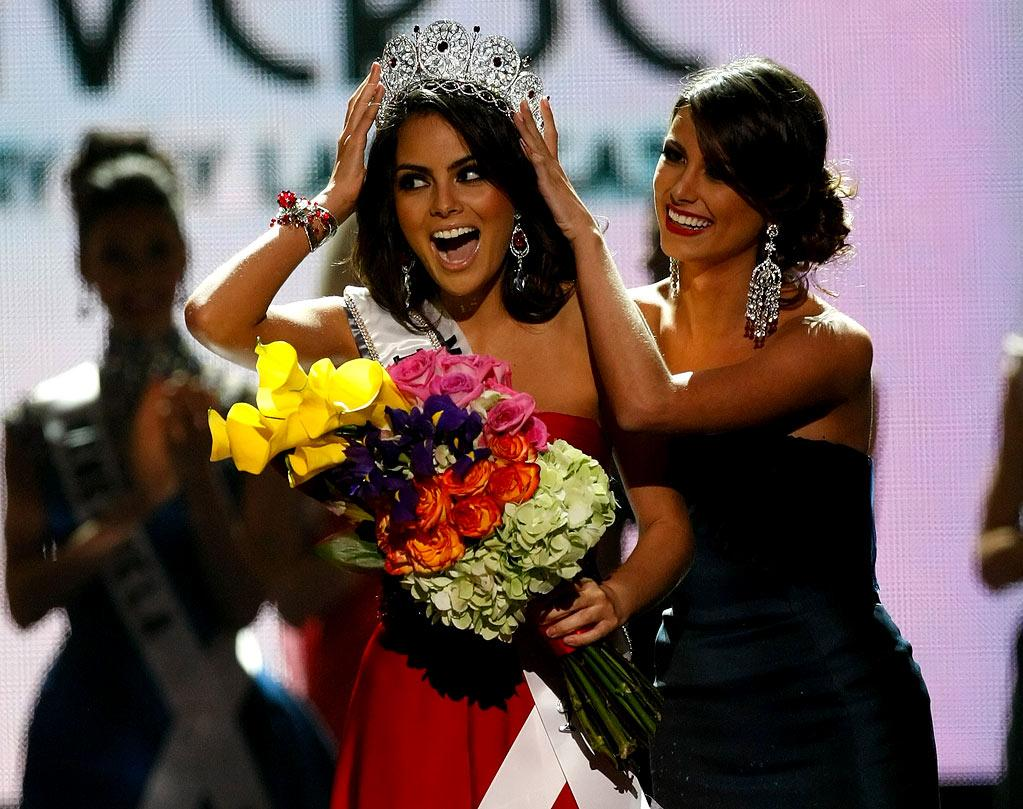 Miss Mexico 2010, Jimena Navarrete, reacts as she is crowned the 2010 Miss Universe by 2009 Miss Universe Stefania Fernandez during the 2010 Miss Universe Pageant.