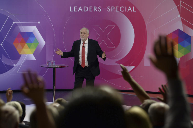 Britain's Labour leader Jeremy Corbyn takes part in BBC1's Question Time Leaders Special from the campus of the University of York, in York, England, Friday, June 2, 2017. (Stefan Rousseau/PA via AP)