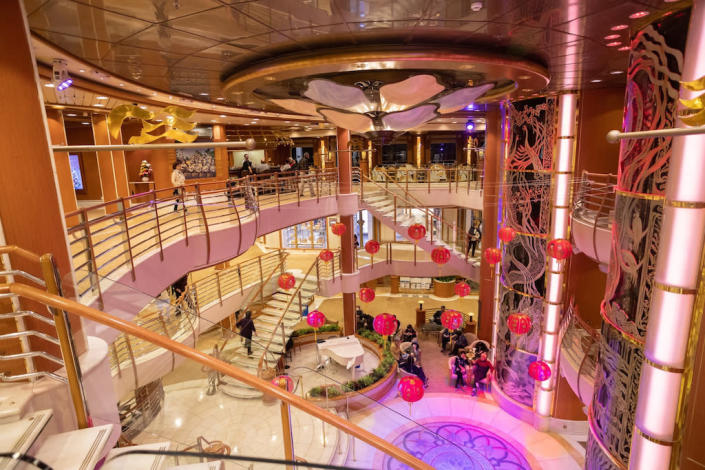 David Abel posted this image of the atrium on the Diamond Princess cruise ship that has been quarantined in Japan (PA)