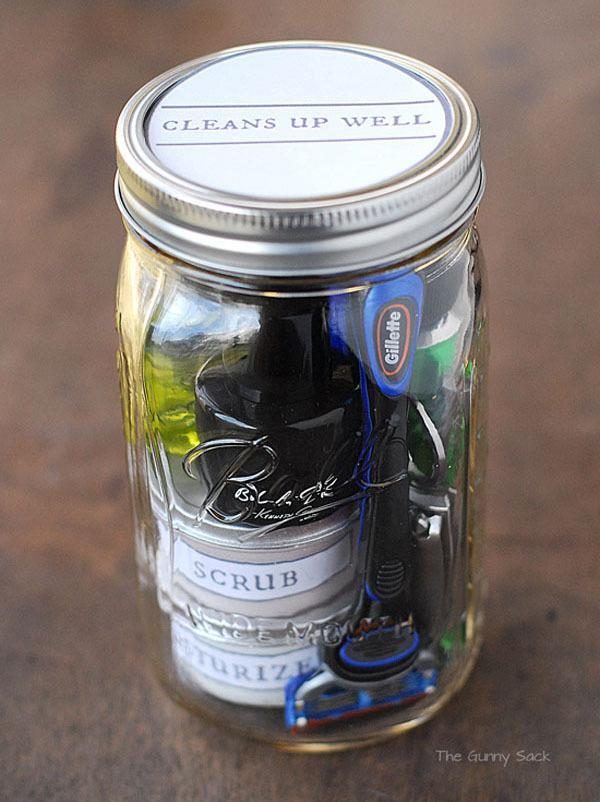 """Perfect for your BF, this """"cleans up well"""" jar is a fantastic idea - and makes a great travel kit, too. [Photo: The Gunny Sack]"""