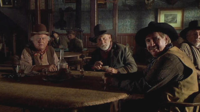Harry Carey Jr., Pat Buttram and Dub Taylor in 'Back to the Future Part III'. (Credit: Universal)