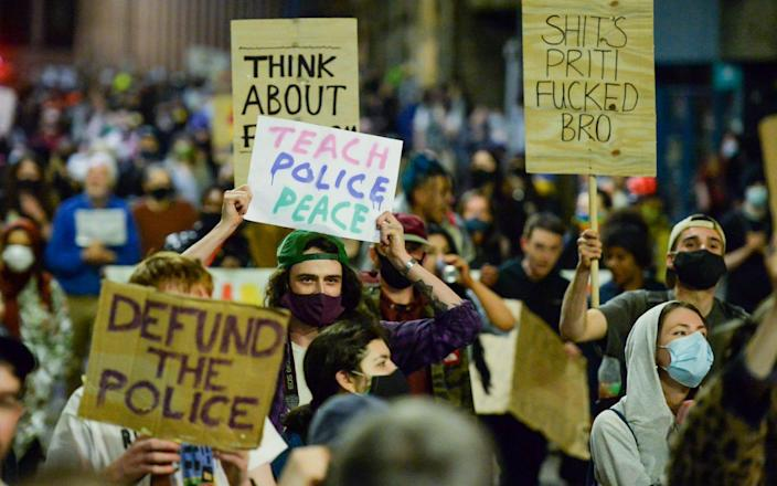 Protests against the policing bill in Bristol on Tuesday night - GETTY IMAGES