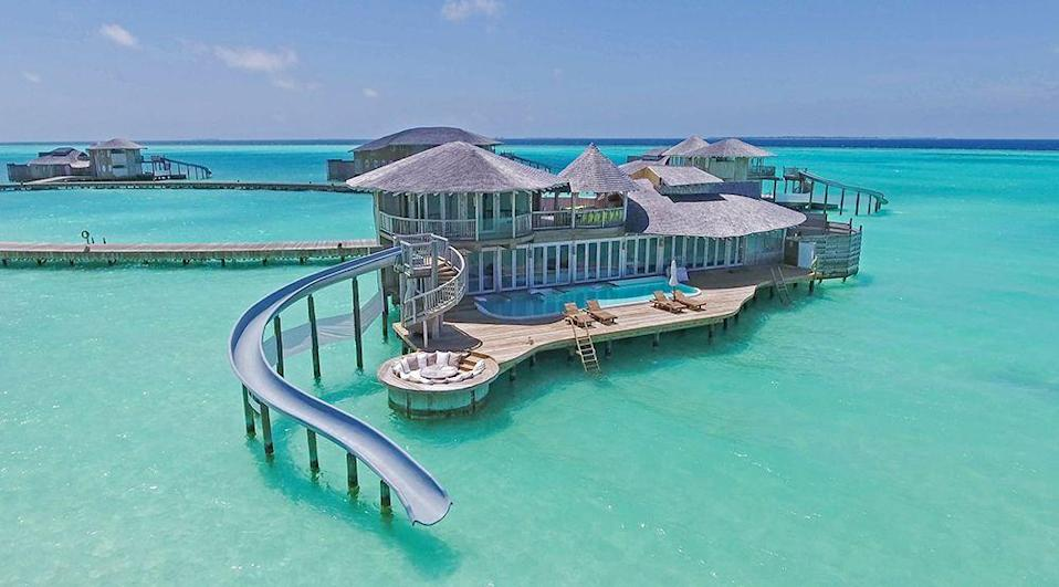 """<p>Sliding out of lockdown like…we've even got our Instagram caption ready should we be invited to stay at this incredible two-bedroom villa at <a href=""""https://soneva.com/soneva-jani"""" rel=""""nofollow noopener"""" target=""""_blank"""" data-ylk=""""slk:Soneva Jani Resort"""" class=""""link rapid-noclick-resp"""">Soneva Jani Resort</a>, which has a private pool as well as a slide and ladder into the warm Indian Ocean. Choices, choices.</p>"""