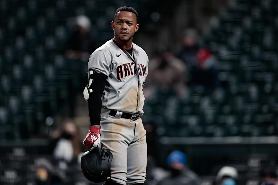 Ketel Marte frustrated after striking out in a game earlier this season.