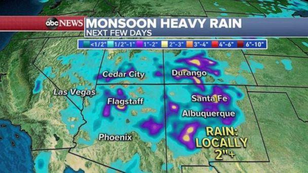 PHOTO: Heavy rain is possible in parts of New Mexico, Arizona and Colorado over the next few days. (ABC News)