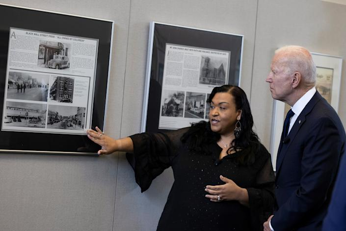 President Joe Biden tours the Greenwood Cultural Center during a visit to mark the centennial anniversary of the 1921 Tulsa race massacre in Tulsa, Oklahoma, U.S., June 1, 2021. (Carlos Barria/Reuters)