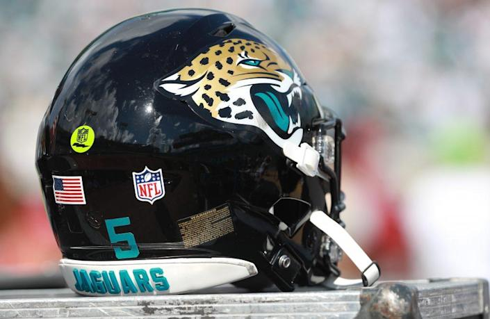 The football helmet of Blake Bortles #5 of the Jacksonville Jaguars is seen in the team area during their game against the New York Jets at TIAA Bank Field on September 30, 2018 in Jacksonville, Florida. (Photo by Scott Halleran/Getty Images)