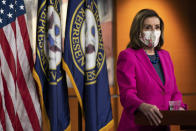 House Speaker Nancy Pelosi of Calif. speaks during her weekly briefing, Thursday, Feb. 25, 2021, on Capitol Hill in Washington. (AP Photo/Jacquelyn Martin)