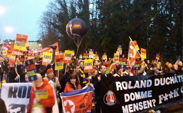 Hundreds of Charlton fans protest against Roland Duchatelet in Belgium as Addicks lose at Northampton