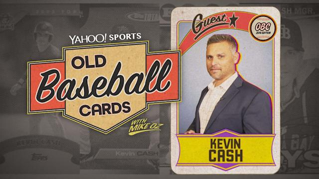 "Rays manager Kevin Cash opens 2004 Topps and 1987 Donruss on ""Old Baseball Cards."" (Yahoo Sports)"