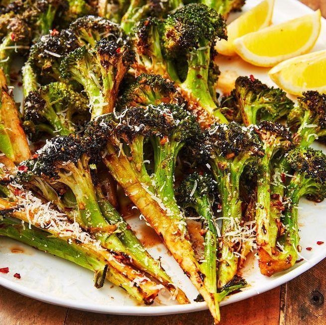 """<p>Seasoned with a little soy sauce, honey, Worcestershire, and ketchup, this side dish is guaranteed to satisfy even the most carnivorous of eaters. </p><p>Get the <a href=""""https://www.delish.com/uk/cooking/recipes/a32399266/grilled-broccoli-recipe/"""" rel=""""nofollow noopener"""" target=""""_blank"""" data-ylk=""""slk:Grilled Broccoli"""" class=""""link rapid-noclick-resp"""">Grilled Broccoli</a> recipe.</p>"""