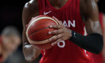Japan's Rui Hachimura (8) prepares to shoot a free throw during men's basketball preliminary round game against Slovenia at the 2020 Summer Olympics, Thursday, July 29, 2021, in Saitama, Japan. (AP Photo/Charlie Neibergall)