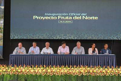 Figure 2. Ron Hochstein delivering his speech during the inauguration event at Fruta del Norte. (CNW Group/Lundin Gold Inc.)