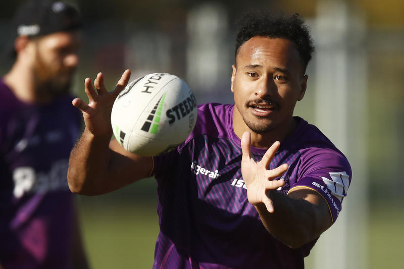 Felise Kaufusi of the Storm in action during a Melbourne Storm NRL training session at Gosch's Paddock on June 09, 2020 in Melbourne, Australia.
