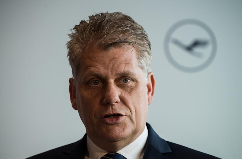 04 March 2018, Germany, Frankfurt am Main: Harry Hohmeister, board member of Lufthansa, stands in front of the airline's logo at the airport. Photo: Andreas Arnold/dpa (Photo by Andreas Arnold/picture alliance via Getty Images)