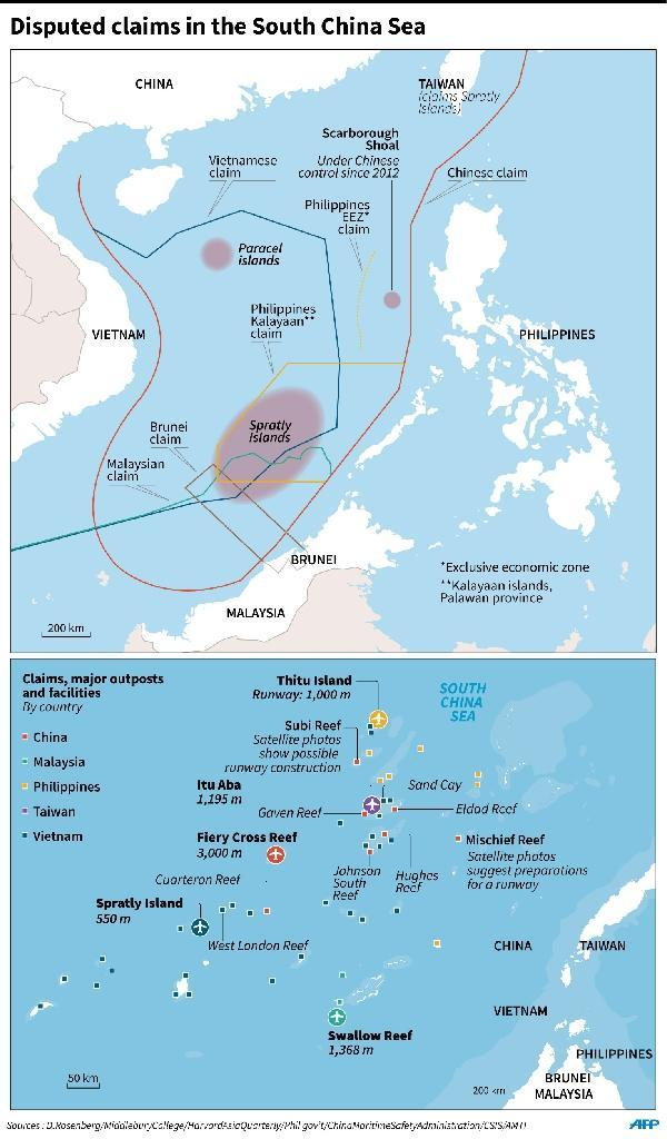 Map showing disputed claims in the South China Sea, including major outposts and facilities in the Spratly Islands (AFP Photo/)