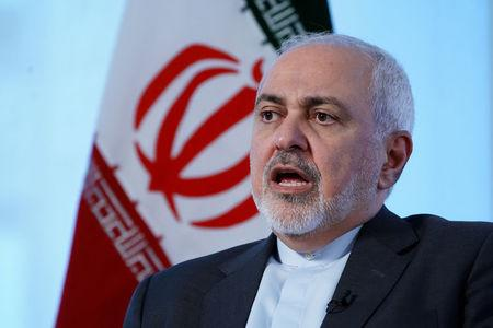 Iran's Foreign Minister Mohammad Javad Zarif sits for an interview with Reuters in New York