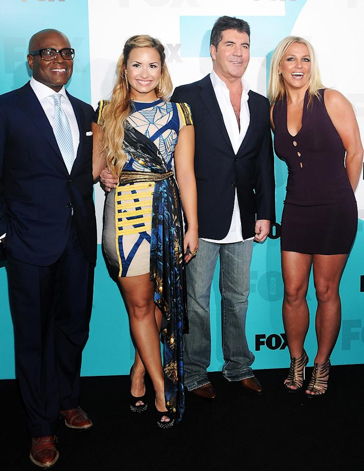 "After months of speculation, the world finally got to meet next season's judging panel on ""The X Factor"" – L.A. Reid, Demi Lovato, Simon Cowell, and, yes, Britney Spears! The foursome attended Fox's post-Upfront party at Wollman Rink in New York's Central Park on Monday. (5/14/2012)"