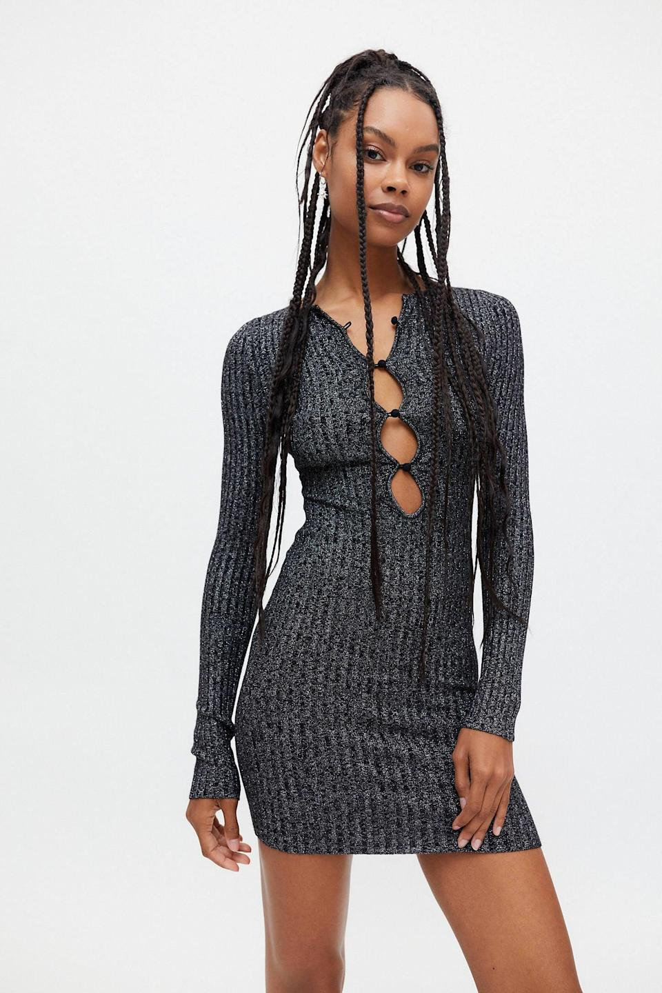 <p>The cutouts on this <span>UO Courtnley Metallic Sweater Dress</span> ($69) are super sexy. This is what we'd wear on a night out when we don't want to be uncomfortable.</p>