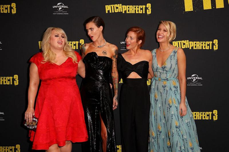 Ruby pictured with Rebel Wilson, Anna Camp and Brittany Snow in Sydney. Source: Getty