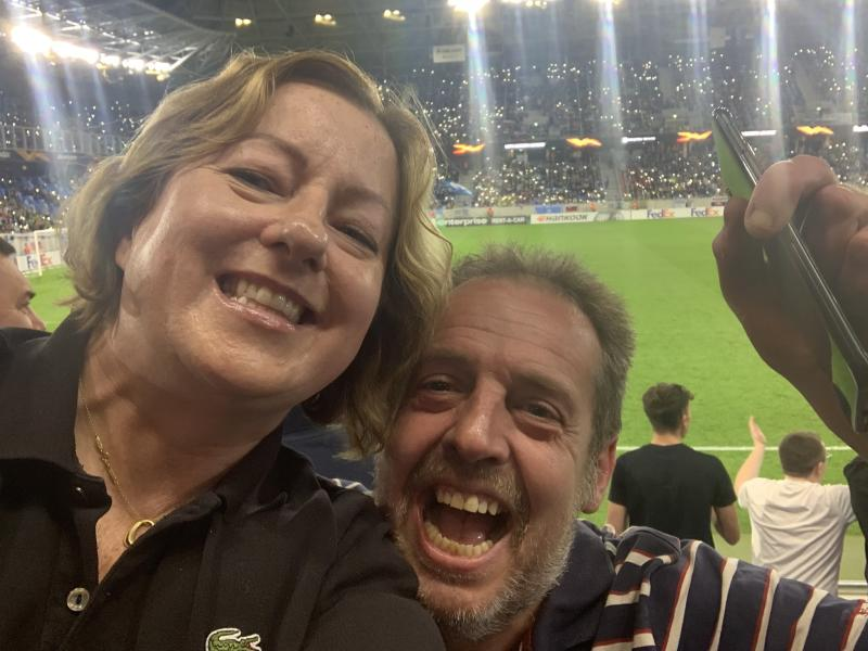Wolves fan Claire Elliott with a friend at a football match