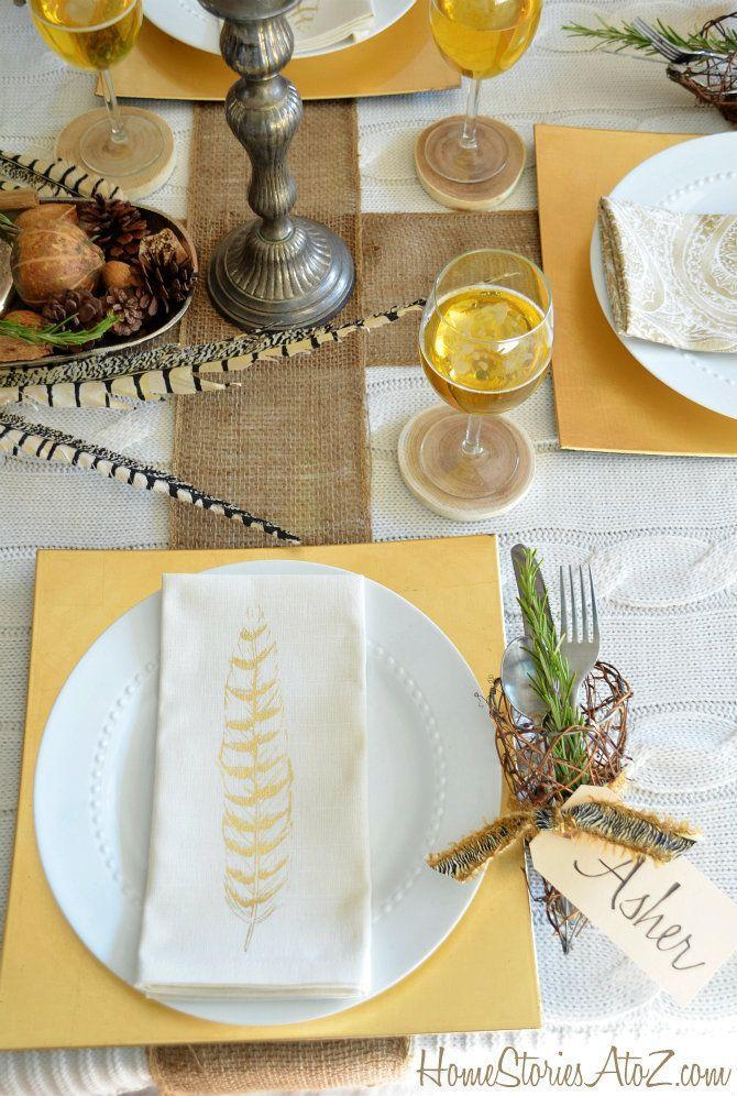 "<p>We're obsessed with the mix of textures on this white and yellow table. The burlap runner and stick utensil holders add a natural feel, while yellow chargers create warmth.</p><p>See more at <a href=""https://www.homestoriesatoz.com/holiday-ideas/natural-elements-and-metallic-thanksgiving-table-setting.html"" rel=""nofollow noopener"" target=""_blank"" data-ylk=""slk:Home Stories A to Z"" class=""link rapid-noclick-resp"">Home Stories A to Z</a>.</p>"