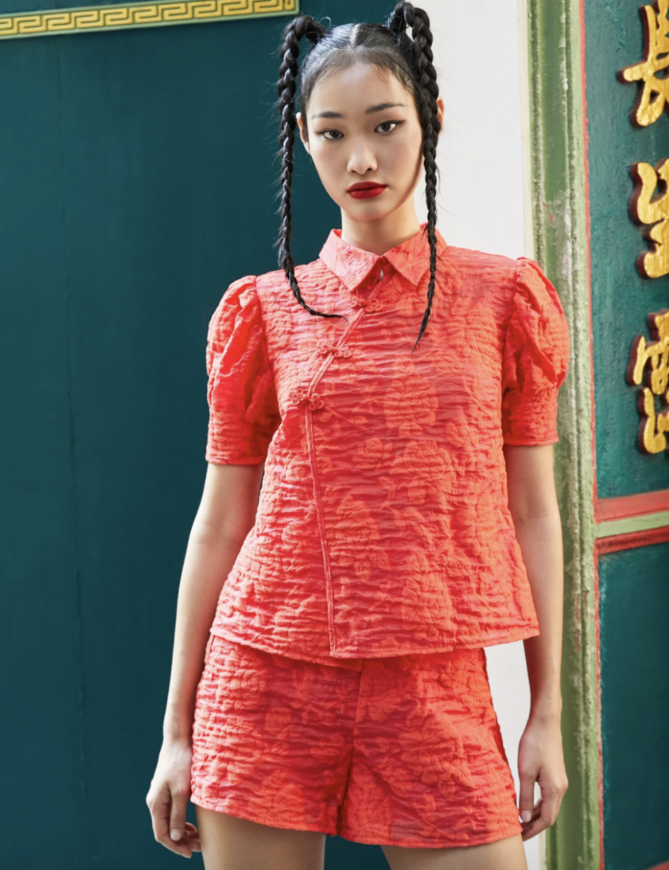 PHOTO: Pomelo. Puff Sleeve Knot Button Top, Red